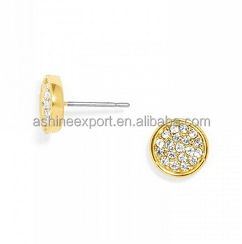 Delicate Mini Gold Color Pave Small Polka Stud Earring