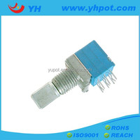 YH jiangsu 9mm three units rotary linear stereo volume control 50k potentiometer with metal shaft