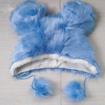 stock winter faux fur cute lovely sky blue micky hat