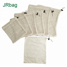 6pcs Drawstring Cotton Mesh Porduce <strong>Bag</strong> &amp; 1pcs Muslin Cotton Fabric Produce <strong>Bags</strong>(Total set of 7pcs)