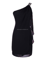 Wholesale short sheath beaded strap cheap black cocktail dress for women