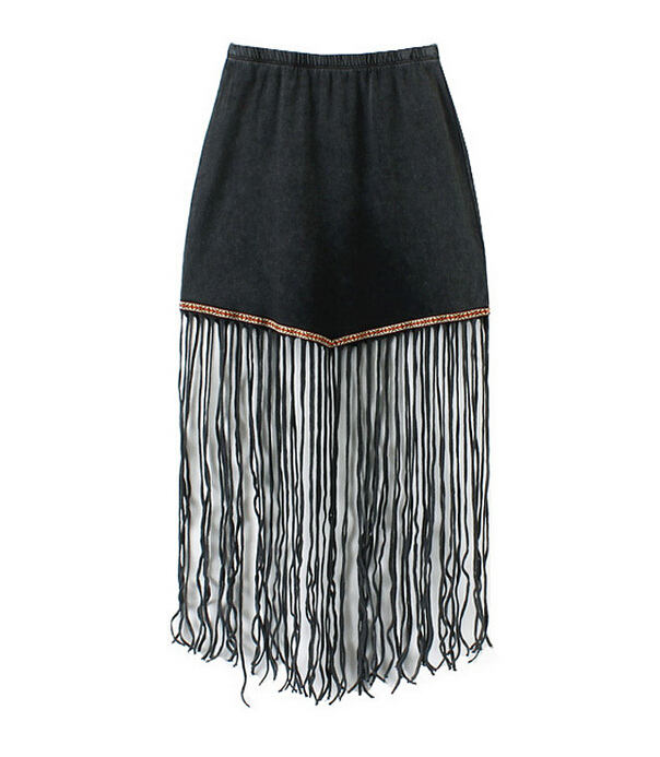2015 New Fashion European and American style Women's 5323 Waist elastic waist ethnic style embroidery fringed skirt st415