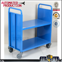 Blue color 2 Tier Steel Moveable Library Book Storage Trolley with wheels