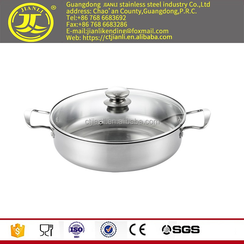 hotpot fry pan Factory price kitchenware Stainless steel soup pan with laser polish