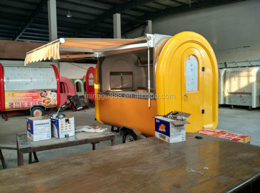 Custom Enclosed Concession Food Vending BBQ Hot God Trailer Van with Waffle machine and Fridge