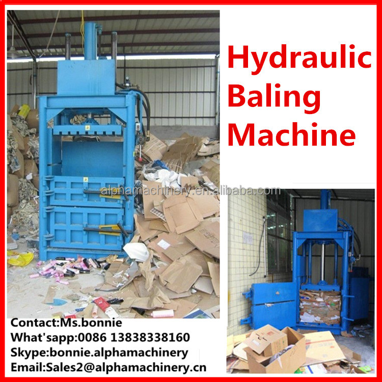 PET bottle plastic film Vertical Baler for waste paper hay Hydraulic press vertical textile baler