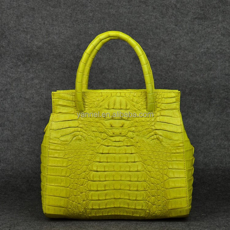 2017 newest genuine crocodile skin tote bags women real leather handbags yellow