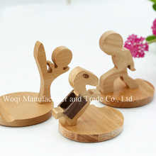 Best Quality kung fu person shape design wooden cartoon funny cell phone holder for desk
