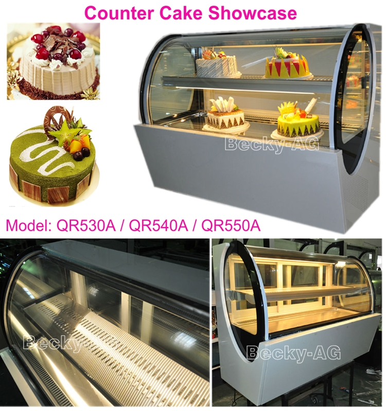 Curved glass tabletop cake refrigerator with imported compressor
