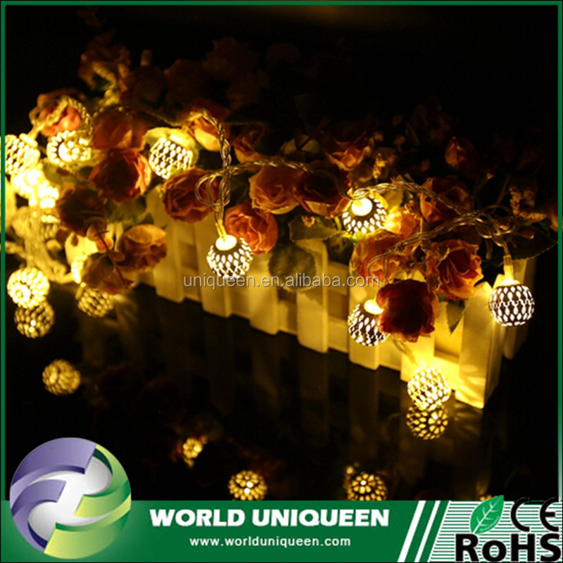 20LED Round Metal Ball Led Chrismas Lights NewYear Wedding Romantic 3D Christmas Decoration LED String Fairy Light