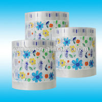 Toilet paper plastic packaging with flower pattern