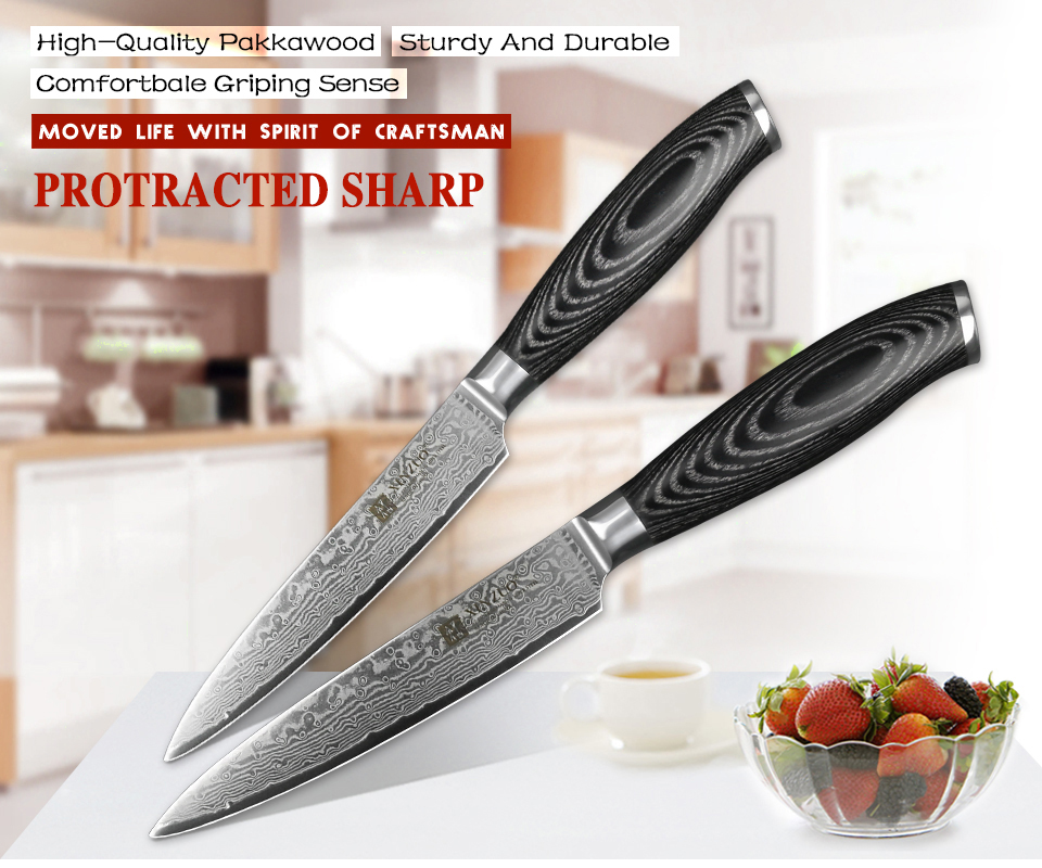 "5"" inch Utility Knife 67layer Japan Damascus Steel Kitchen Knives Ultra Sharp Knife Pakkawood"