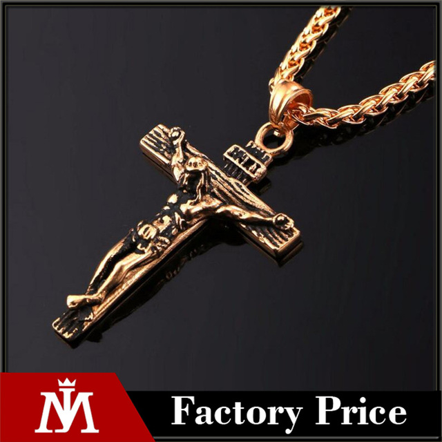 Crucifix Jesus Piece Pendant & Necklace Gold Color Stainless Steel Men Chain Christian Jewelry Gifts Vintage