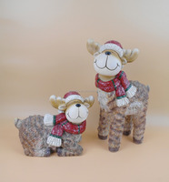 Holiday Decor Christmas Gift Magnesia Sheep Statue 2pcs/set