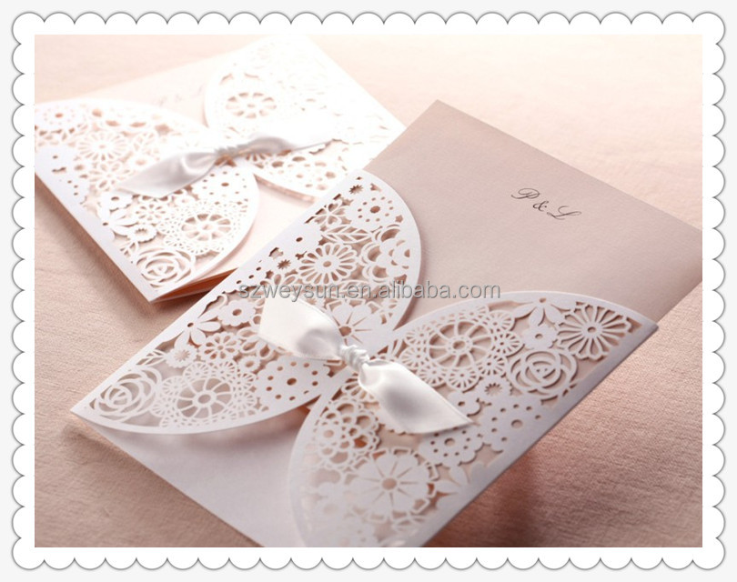 Laser Cut Design Floral Embossing Elegant Wedding Invitations Pocket Fold Printable Blank Cards Convite to casamento