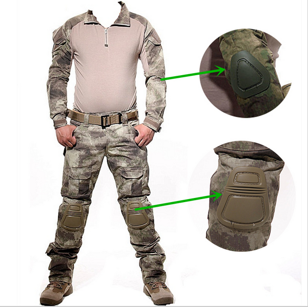 Tactical Military USMC FROG II Ranger Inspire Airsoft Paintball Combat Uniform Suit Knee Elbow Pads Multicam Woodland Digital