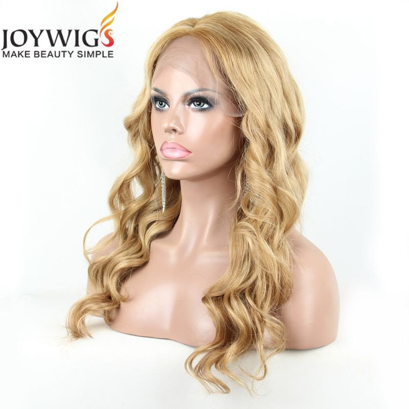 2016 Joywigs Fashionable New Arrival Unprocessed Brazilian Hair Virgin Human Hair Blonde Colour Body Wave Lace Front Wig