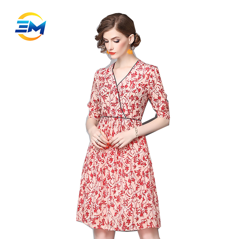New fashion women wrap 1/2 sleeve elegant knee length pure silk printed floral dress