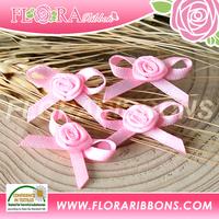 Wholesale Pink Double Face Satin Ribbon Garment Bows for Decoraton