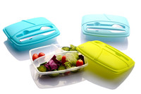 plastic lunch box with knife and fork