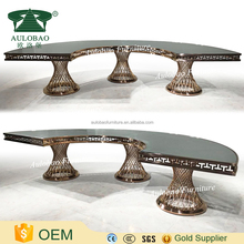 New Style design stainless steel dining table with glass top