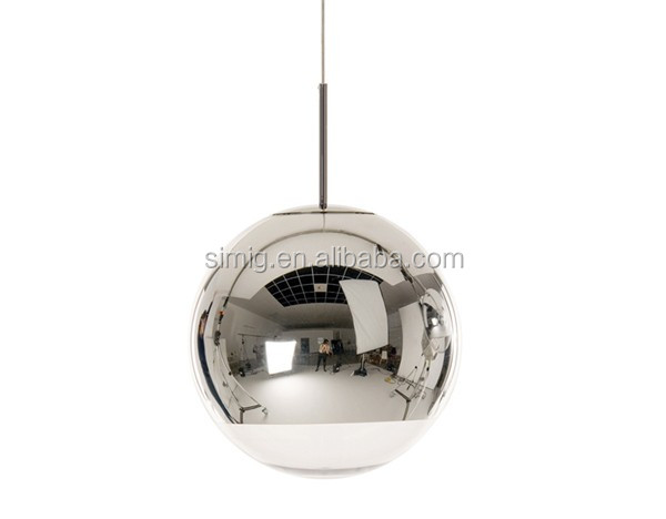 Modern Dixon creative mirror glass ball led pendant light for restaurant and home