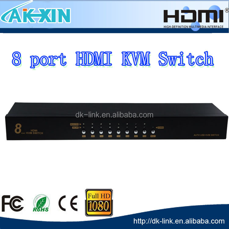 8 Port HDMI USB KVM Switch PS/2 Controller With 8 Cables For PC