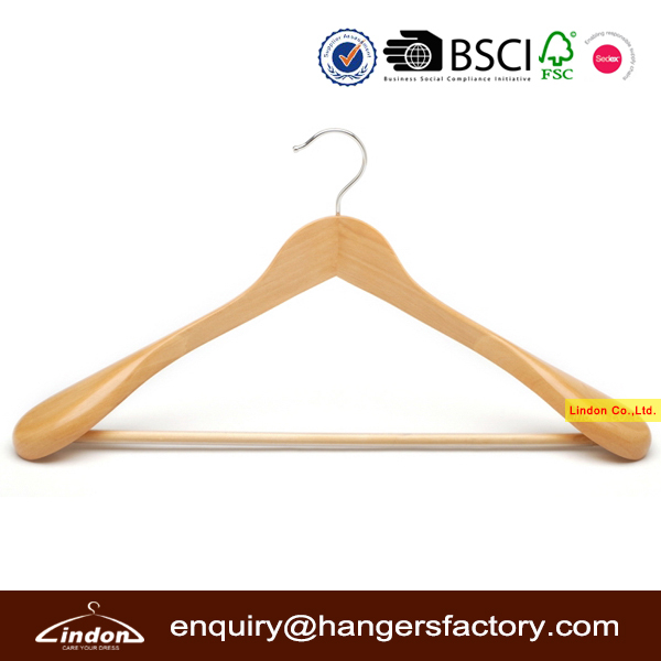 Assessed Supplier LINDON wholesale coat hangers with anti-slip bar
