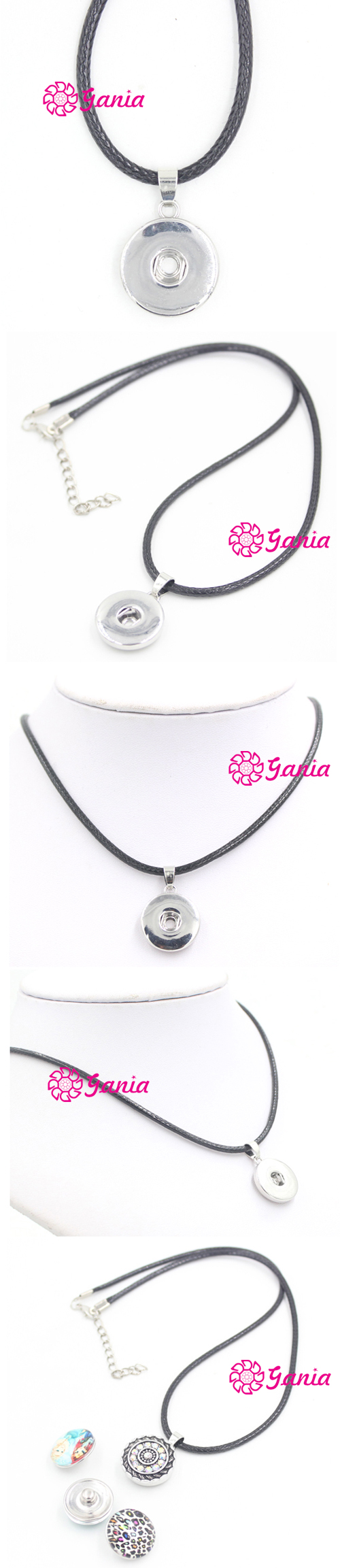 New Arrival Interchangeable Snap Jewelry Necklace Black PU Leather Rope with 18mm Snap Pendant Necklace