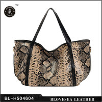 High Fashion Genuine Leather Snake Skin Office Style Ladies College Handbags
