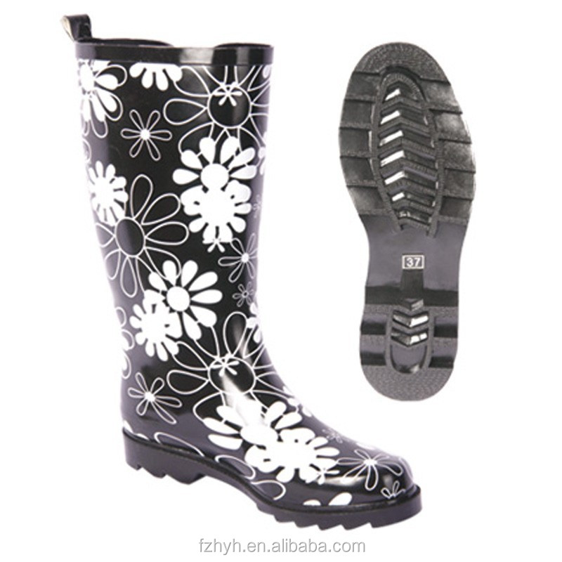 The White Color Flower Printing Knee Rubber Rain Boots 2017