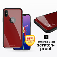 Rear Temper Glass Case For iPhone X Luxury Glossy Glass Slab Back Cover For iPhone X Case Hard Ultra Thin PC TPU Hybrid