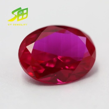 top quality oval shanpe synthetic ruby cabochon corundum gemstone