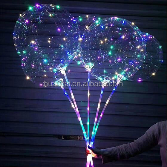 Party decoration 3 meters 30leds string led transparent bobo balloon with battery holder and stick/Led transparent balloon light