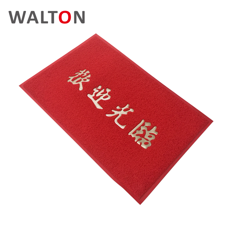 Printed logo Dustproof pvc customized colorful front door welcome mat