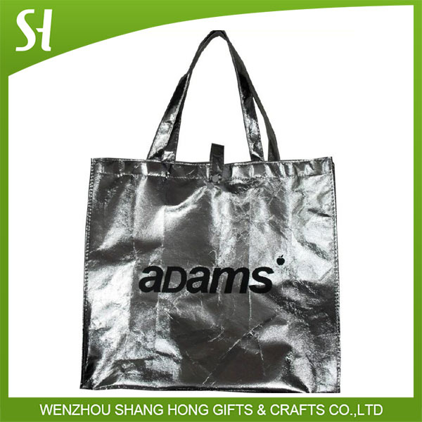 logo print metallic silver color high quality pp laminated non woven grocery shopping bag with tote handle