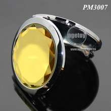 Folding Round Stainless Steel Metal Yellow Crystal Bulk Wholesale Pocket Mirrors