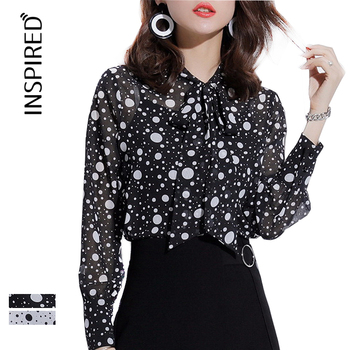 Office New Design Ladies Blouse Long Sleeve Women's Spot Print Shirt