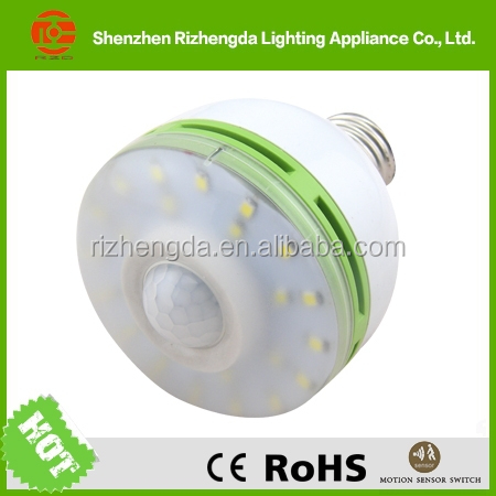 2014 ShenZhen E27 motion sensor 6w factory china pir sensor 220v bulb led light