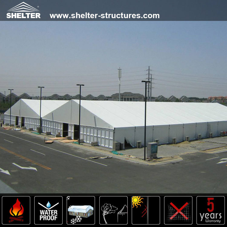 Mega a shaped frame white pvc fabric cover house tent for warehouse storage