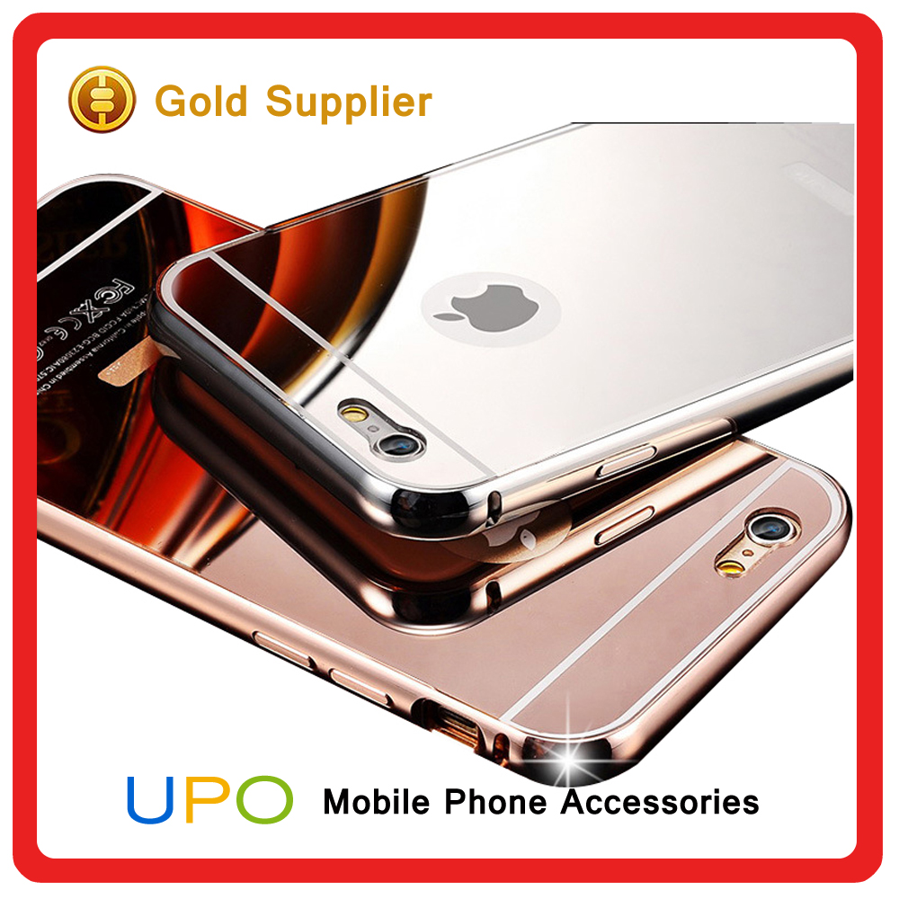 [UPO] Best-selling Aluminum Bumper Ultra-thin Plastic back Cell Phone Case Cover For iPhone 5 5s 6 6s 6 plus with Mirror