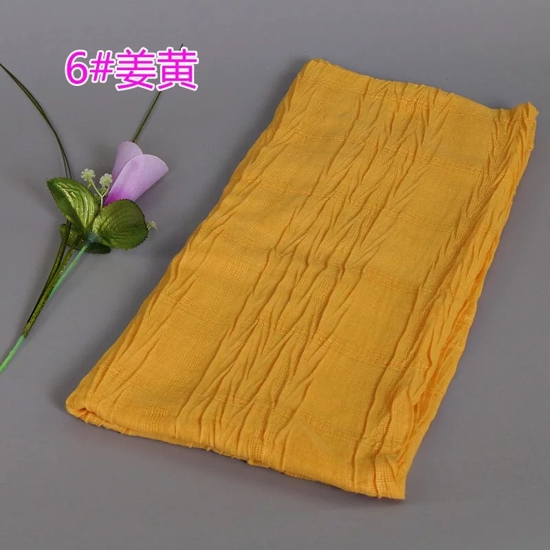 Women New Style Scarf Solid Color Cotton Viscose Scarves Large Size Pleated Muslim Head Wraps