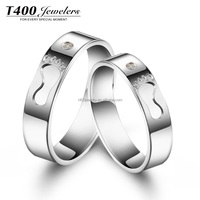 T400 jewelry couple Ring of 925 Sterling Silver with small AAA Zirconia plata joyas anillos 4387