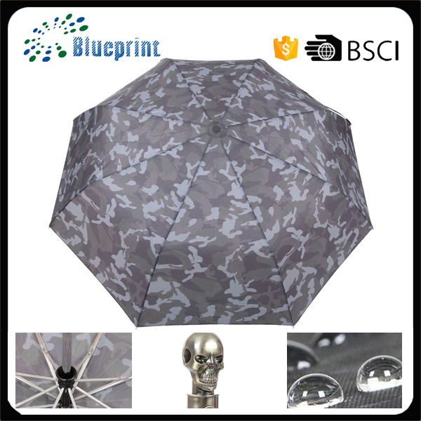Umbrella sun protection skull handle umbrella auto 3 folding umbrella