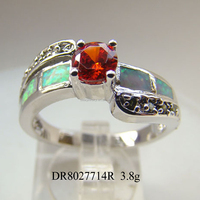 green opal jewelry silver gemstone jewelry mexican opal silver ring, DR8027714-E