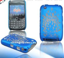 shell deep blue rubberized water-print skin case cover for Blackberry 8520