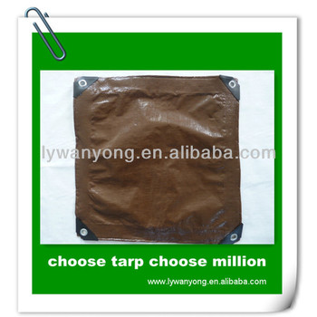 brown silver waterproof pe tarpaulin sheet with pp rope and aluminum eyelet