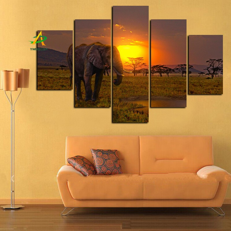 Digital high quality Sunset elephant paintings art on canvas free sample