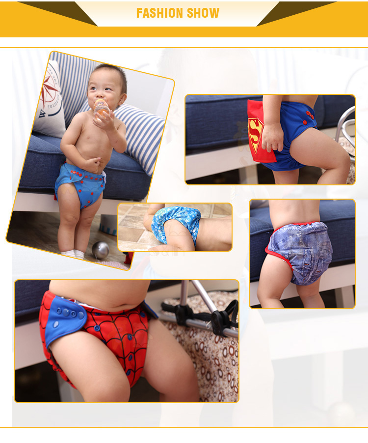 Double Pockets Reusable Baby Cloth Diapers with Bamboo Charcoal inner material with Factory Wholesale Price