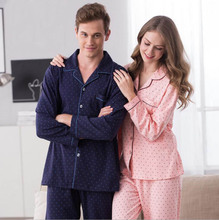 DM 777 Spring Long Sleeve Shirt Lovers Women Longewear Polka Dot Cardigan Cotton Trouser Knitted Loose Men Pajama Set